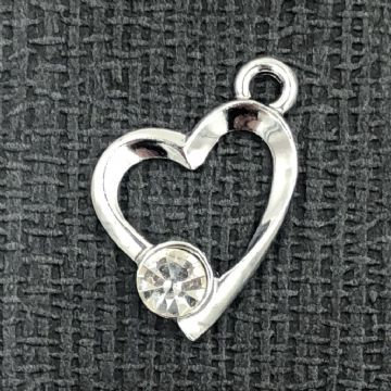 Off entered heart with single crystal - rhodium - 17mm x 22mm
